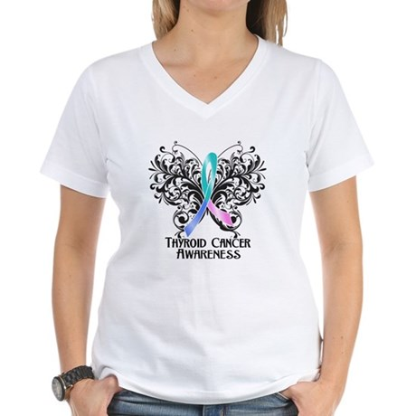 Butterfly Thyroid Cancer Women's V-Neck T-Shirt