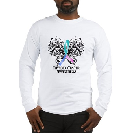 Butterfly Thyroid Cancer Long Sleeve T-Shirt