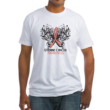 Butterfly Uterine Cancer Fitted T-Shirt