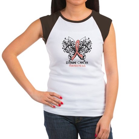 Butterfly Uterine Cancer Women's Cap Sleeve T-Shir