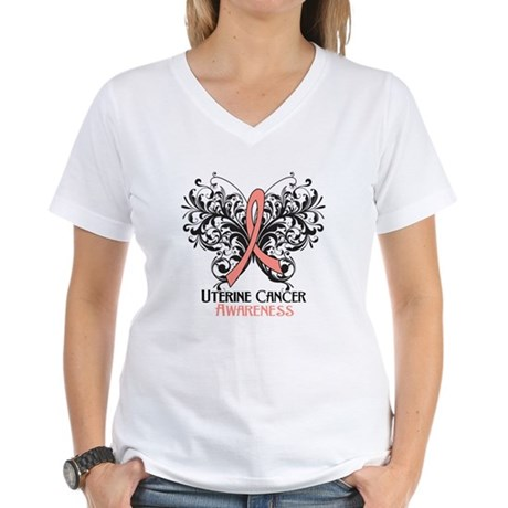 Butterfly Uterine Cancer Women's V-Neck T-Shirt