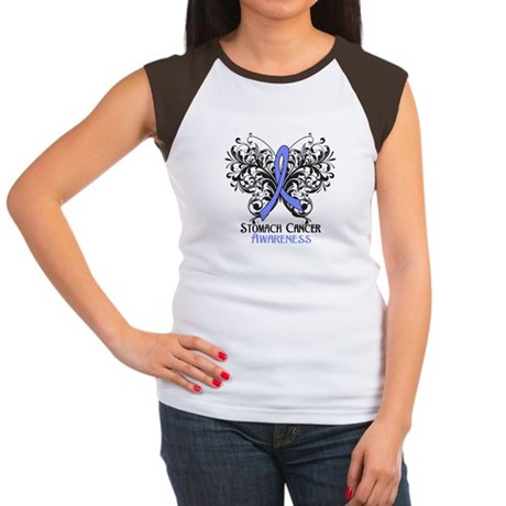 Butterfly Stomach Cancer Women's Cap Sleeve T-Shir