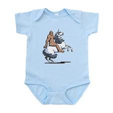 Bigfoot Riding a Unicorn Infant Bodysuit
