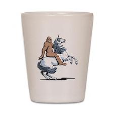 Bigfoot Riding a Unicorn Shot Glass