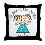 Sister of the Bride Stick Figure Throw Pillow