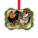 Barnyard Game Fowl Picture Ornament