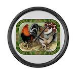 Barnyard Game Fowl Large Wall Clock