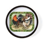 Barnyard Game Fowl Wall Clock