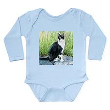 Louie the Tuxedo Cat Long Sleeve Infant Bodysuit