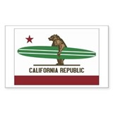 California Surfing Bear Longboard Flag  Aufkleber