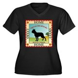 Boston Terrier Women's Plus Size V-Neck Dark T-Shi