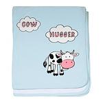 Cow Hugger baby blanket