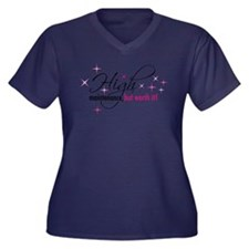 High Maintenance Women's Plus Size V-Neck Dark Tee