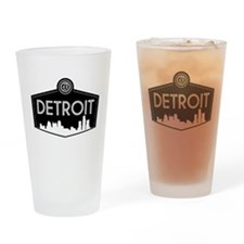 Retro Detroit Drinking Glass
