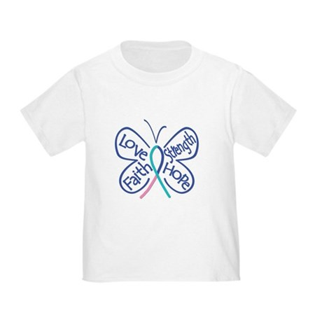 Thyroid Cancer Butterfly Words Toddler T-Shirt