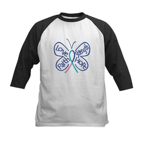 Thyroid Cancer Butterfly Words Kids Baseball Jerse
