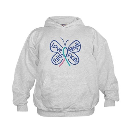 Thyroid Cancer Butterfly Words Kids Hoodie