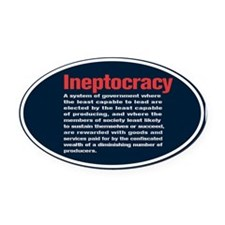 Ineptocracy Definition Oval Car Magnet