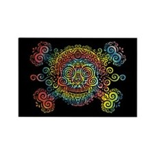 Tie-Dyed Antique Skull Rectangle Magnet (100 pack)
