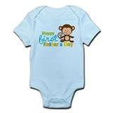 Boy Monkey Happy 1st Fathers Day  Baby Onesie