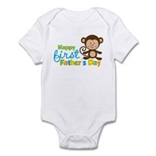 Boy Monkey Happy 1st Fathers Day Infant Bodysuit