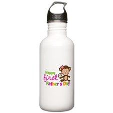 Girl Monkey Happy 1st Fathers Day Water Bottle