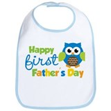 Boy Owl Happy 1st Fathers Day Bib