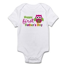 Girl Owl Happy 1st Fathers Day Infant Bodysuit