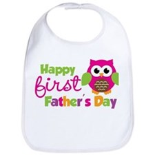 Girl Owl Happy 1st Fathers Day Bib