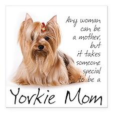 "Yorkie Mom Car Magnet 3"" x 3"""