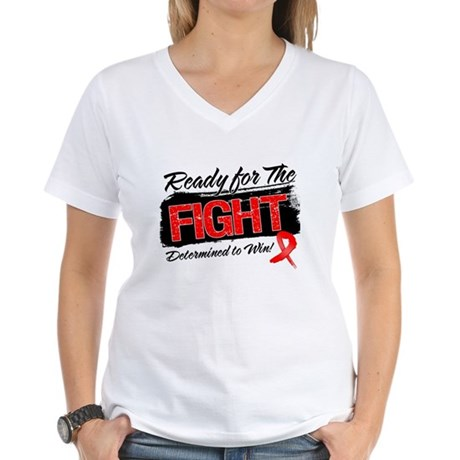 Ready Fight Blood Cancer Women's V-Neck T-Shirt