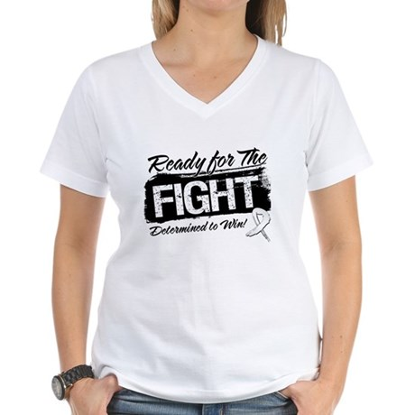 Ready Fight Bone Cancer Women's V-Neck T-Shirt