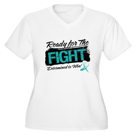 Ready Fight Cervical Cancer Women's Plus Size V-Ne