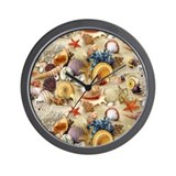 Fancy Seashell Shower Curtain Wall Clock