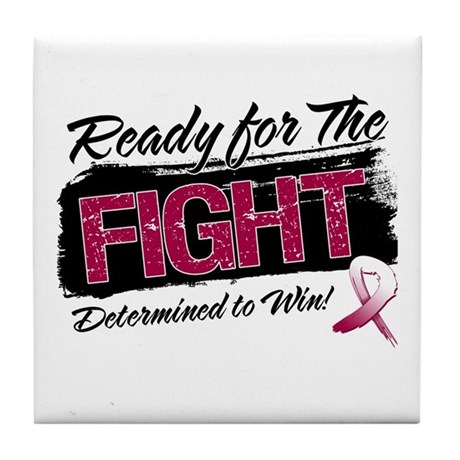 Ready Fight Head Neck Cancer Tile Coaster