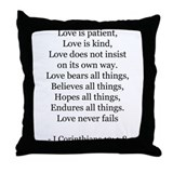 I Corinthians 13:4-8 Throw Pillow