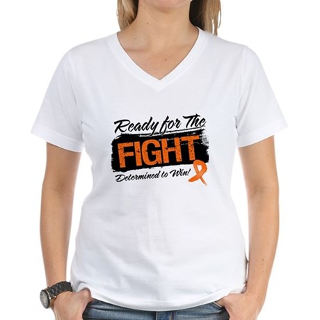 Ready Fight Kidney Cancer Women's V-Neck T-Shirt