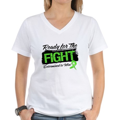 Ready Fight Lymphoma Women's V-Neck T-Shirt