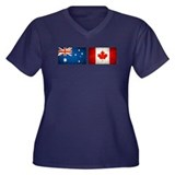 australia canada flags Women's Plus Size V-Neck Da