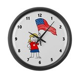 USA Girl Large Wall Clock