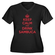 K C Drink Sambuca Women's Plus Size V-Neck Dark T-