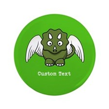"""Triceratops Dinosaur Angel Wings 3.5"""" Button"""