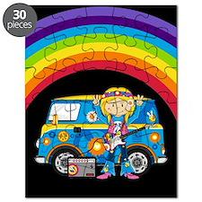 Hippie Girl and Camper Van Puzzle