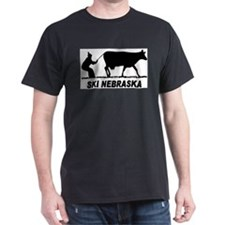 Ski Nebraska Black T-Shirt