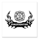 Fire Dept Firefighter Tattoos Square Car Magnet 3&
