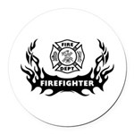 Fire Dept Firefighter Tattoos Round Car Magnet