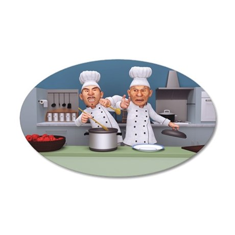 Too Many Cooks 20x12 Oval Wall Decal