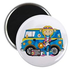 "Hippie Girl and Camper Van 2.25"" Magnet (10 p"