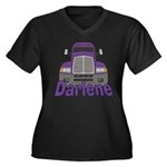 Trucker Darlene Women's Plus Size V-Neck Dark T-Sh