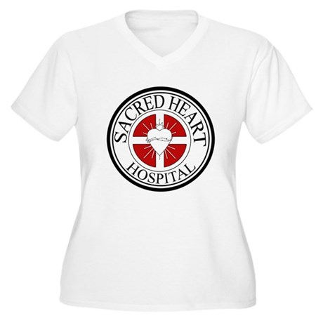 Sacred Heart Hospital Womens Plus Size V-Neck T-S